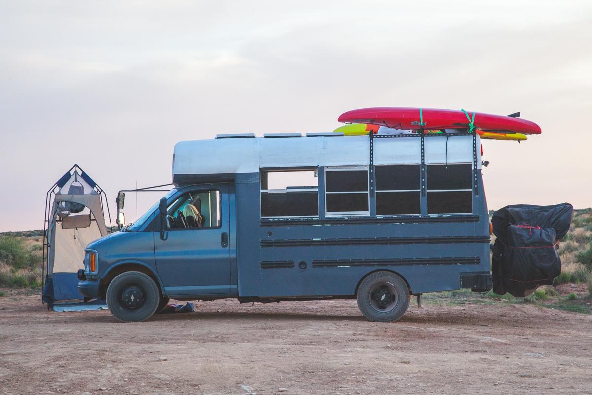 Skoolie short bus kayak rack